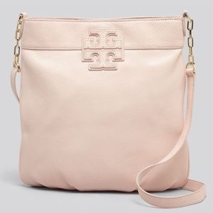 Tory Burch pink stacked T leather Crossbody
